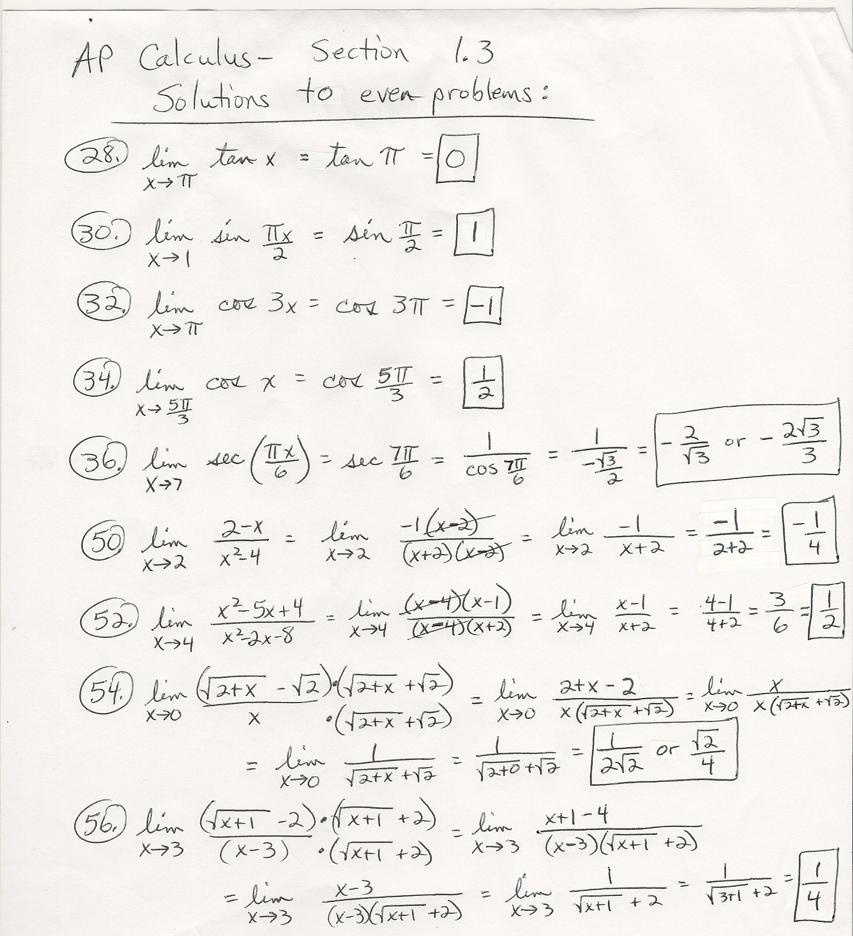 calculus problems and answers